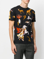 Wholesale Blue Zoo - 2018 Summer luxury Brand tshirt designer medusa flowers animal zoo color print Men casual women cotton t-shirt shirts tee top