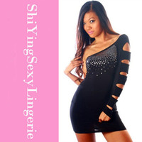 Wholesale Bejeweled Dresses - One Shoulder Black Bejeweled Clubbing Dress dresses women sexy club dress 2015 ladies' cheap dress