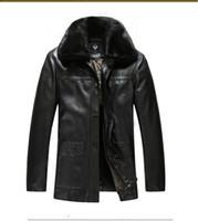 Wholesale Leather Jacket For Large Men - New Warm Fur collar Leather Jackets for men European Coat Sheep Leather Fashion Jackets For Men Fashion Leisure Coats long sleeve Plus Large