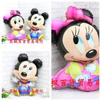 Wholesale Large Inflatable Toys - New Large Size Mickey & Minnie Cute Cartoon Foil Balloon Birthday Decoration Wedding Party Inflatable Air Balloons Children's Toy