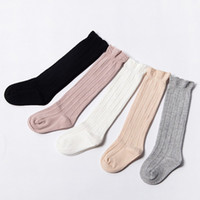 Wholesale Wholesalers Tube Socks - Baby Tube Ruffled Stockings Girls Boys Uniform Knee High Socks Infants and Toddlers Cotton Pure Color 0-3T
