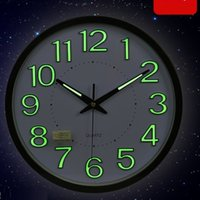 Wholesale 30CM Modern Design LUMINOVA Glow In The Dark Wall Clock With Mute Quartz Clock Movement Wall Watch Home Decor Decal Wall Clocks