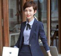 Wholesale Girls Blazers Skirts - Autumn winter long sleeve professional women skirt stripe suit OL dress suit skirt interview business suit dress girl