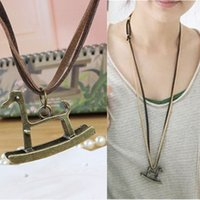 Wholesale Nice Female Necklaces - 12Pcs Lot Trendy Long Retro Leather Rope Horse Necklaces Women Nice Gift Fashion Jewelry Pretty Female Necklaces European Style New