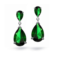 Wholesale Gold Emerald Chandelier Earrings - Teardrop Dangle Earrings for Woman May Birtth Stone Emerald Green CZ Angelina Jolie Dangle Earing DAILY 2015 Trendy DAE-0048