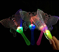 Wholesale Toy Fan Lights - Colorful Butterfly night light LED flashing flash fan dance concert creative toys for children free shipping