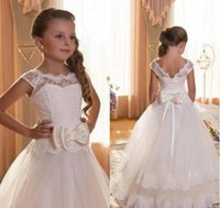 Wholesale Little Girl Dresses For Birthday - 2017 Girl's First Communion Dresses Scoop Backless With Appliques and BowTulle Ball Gown Pageant Dresses For Little Girls