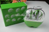 Wholesale Pedicure Set Party Favor - Wholesale Green Apple Shaped 9 in 1 Apple Shape Pedicure Manicure Set Kit Bridal Shower Giveaways return Gift Wedding Favor 100sets LOT