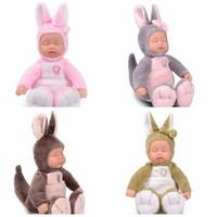 Wholesale Toys Kangaroos - Wholesale- 25cm Stuffed Baby Born kangaroo Doll Children Silicone Reborn Sleep Doll For Kid Toy