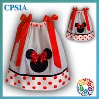 Wholesale Sleeveless Bowknot Dress Dot - Girls Minnie dot bowknot Dress 2015 new Girls 0-6 year sleeveless dress baby clothes B001