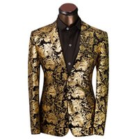 Wholesale Tuxedo Prom Single Button - FG1509 Luxury Men Suit Golden Floral Pattern Suit Jacket Men Fit Prom Suits Tuxedo Brand Wedding Party Blazer Jacket
