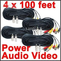 Wholesale 100 feet Security Camera CCTV Audio Video Power Cables with Free BNC RCA Adapters