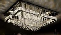 lustres de cristal au plafond moderne achat en gros de-NOUVEAU moderne de luxe Pandant lumière rectangulaire LED K9 lustre crysal monté au cristal fixutres hall lustres pour salon LLFA