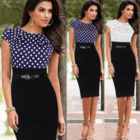Wholesale Star Works - Wholesale - European and American star with stitching dresses, new cocktail pencil skirt, professional Party dress Work Dresses with belt