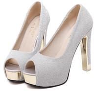 balo topuklu ayakkabıları toptan satış-Muhteşem glitter düğün gelin ayakkabı gümüş prenses ayakkabı ayak bileği strappy platformu ayakkabı kalın topuk lavanta balo elbisesi