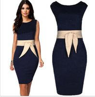 Wholesale Square Columns - Plus size formal dresses Navy Dress With Champagne Belt Sleeveless Women Work Dress Knee Length Ladies Dresses Size S to XXL