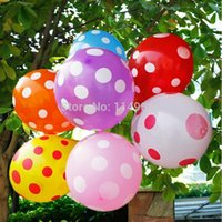 Wholesale Dot Ballons - Wholesale-100Pcs lot MIxed Color Dots round Balloons for wedding decoration Ballons for Decoration  Air Balloons free shipping