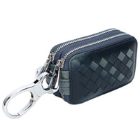 Hot Sale New Men Cartas de carro de couro genuíno Carteiras Business Knitting Housekeeper Titulares Lady Sheepskin Leather Zipper Key Case