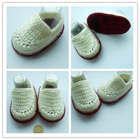 Wholesale Crochet White Baby Booties - 2015 Fashion Boy Crochet baby ballet shoes white boy handmade infant booties toddler shoes 0-12M cotton