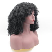 Wholesale 28 Inch Curly Synthetic Wigs - Afro Kinky Curly Synthetic Hair Glueless Lace Front Wigs Heat Resistant Fiber Hair 20-30 inch Natural Black 180 Density Free Shippment