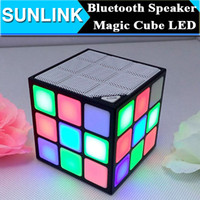 Wholesale Magic Cards Flash - Magic Cube Design Colorful 36 LED Flash Bluetooth Mini Speaker Wireless Portable Super Bass Sound Subwoofer Handsfree for iPhone Tablet PC