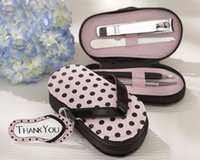 Wholesale Purse Favors - 50sets slipper style Pink Polka Dot Purse Manicure Set Shower Favors Flip Flop Nail scissor Care Pedicure Set, free ship