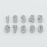 números de diapositivas de diamantes de imitación al por mayor-Comercio al por mayor 50PCS / Lot 8MM Rhinestones Completos Números de diapositivas