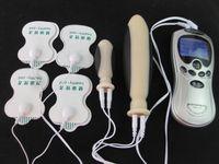 Wholesale Electro Stimulation Sex Kit - Electro Shock Stimulation Sex toys Silicone Vaginal Plug Anal Butt Plugs BDSM Bondage Kit Gear SGES02