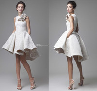 Wholesale Nude Jewels Sexy Cocktail Dresses - 2016 Spring White lace Short Evening Dresses Arabic Dubai Hand Made Floral High Low Prom Gowns Fashion Party Cocktail Dresses