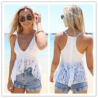 Wholesale Lace Pocket Womens Shorts - Brand new 2016 White Sexy Backless Womens Casual Sleeveless Lace Loose t shirt Tops