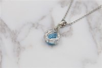Wholesale Aquamarine Pendants Sterling Silver - 2017 pure natural blue Aquamarine Pendant Necklace Sterling Silver S925 simple fashion girls birthday party wedding free delivery