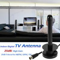 Wholesale 25dbi Antenna - W25 Indoor Digital TV Antenna 25dBi High Gain Full HD 1080p VHF   UHF DVB-T-Aerial F IEC Male Connector for HDTV   DTV   TV V1905