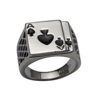 кольца для покера в покер оптовых-2014 Hotsale прохладный мужские ювелирные изделия коренастый 18K белое золото покрытием черная эмаль лопаты покер кольцо мужчины