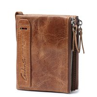 Wholesale horse coin purse - Genuine Crazy Horse Leather Men Wallet Short Coin Purse Small Vintage Wallets Brand High Quality Designer carteira