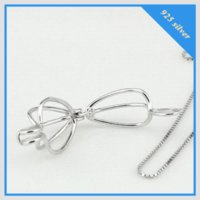 Wholesale Horn Shaped Pendants - cage shape 925 sterling silver wish pearl pendant accessories