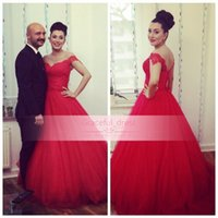 Wholesale Myriam Fares Hot - New Arabic Myriam Fares Evening Dress For Women Sexy Backless Red Off The Shoulder Hot Plus Size Ball Gown Quinceanera Celebrity Gown BO9331