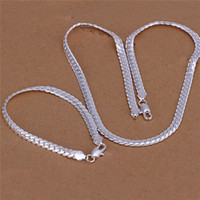 Wholesale Silver Snake Chain 5mm - S085 Factory Price 925 Silver 5MM snake chain necklace (20inches) & Bracelets (8inches) Fashion Jewelry Set for men Free shipping