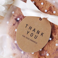 Wholesale Wholesale Cardboard Gift Tags - Wholesale- 40mm 100pcs Thank You Round Kraft Packing Label For Gift Cookie Wedding Favor Labels Custom Tags Retail Hang Cardboard Etiquetas