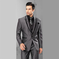 Wholesale Slim Tailcoat - Mens Suits Slim Fit Peaked Lapel Grey Wedding Tuxedos For Groom 2017 Groomsmen Suits One Button 3 Piece Men Suit (Jacket+Pants+Vest)