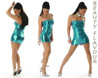 Wholesale Sexy Pu Clothing - 2015 Hot Dresses for Women PU Leather Bright Color Night Club Clothing Sheath Sexy Dress Strapless Halter sexy Summer Women's dresses