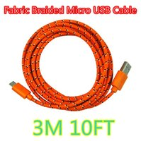 Wholesale usb ap - 3M 10FT Fabric Braided Micro USB Cable For Moblie phone ap 5 6 Data Sync USB Cable Charging Cord for phone S3 S4 S5 S6 Note 3 4 Colorful