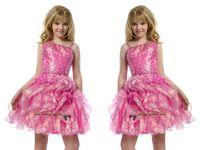 teen uşak elbise pembe toptan satış-2015 Sequins Öncesi Genç Kısa Tam Boncuk Pembe Kız Pageant elbise Plise Diz Boyu Küçük Çocuklar Büyük Kızlar Parti törenlerinde