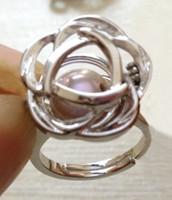 anneaux de cage achat en gros de-Style de camélia 18KGP perle / cristal / rubis / gemme anneau bague cage cage montages, forme de fleur rose peut libre bague ouverte raccord ajustable taille réglable