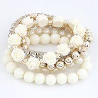 ingrosso braccialetto disponibile-2015 più caldo nuovo modo di arrivo carino perline estate gioielli braccialetto fiore per le donne 6 colori disponibili
