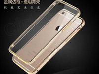 Wholesale Iphone Case Frame Aluminium - For iphone7 Hybrid Metal CASE Aluminium Frame Bumper Clear Crystal TPU cover case cases for Iphone 7 6 6s Plus samsung s6 s7