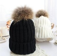 Wholesale Elegant Hats For Women - Elegant Women Hat Winter & Fall Beanies Knitted Hats For Woman Man Winter Ladies Raccoon Fur PomPom Hats & Caps & Gorros MX1023
