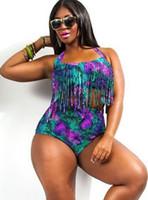 bikini taille haute orange achat en gros de-3XL taille haute maillot de bain chaud femmes maillot de bain Vintage grand rétro Push Up Bikini Plus taille maillot de bain avec glands Fringe