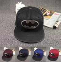 batman hat snapback venda por atacado-Mix cor verão batman boné de beisebol chapéu para mulheres dos homens casuais osso hip hop snapback caps chapéus de sol