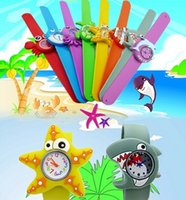Wholesale Animal Snap Watches - Cute Models Ocean Animal Series Slap Watch Animal Cartoon Slap Snap Watches Silicone Wrist Watches for Children Gift Wristwatch 100pcs Lot