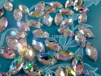 Wholesale Bags Loose Beads - Wholesale-Navette 6*12mm 400pcs bag dazzlingly ABcolour sew on Acryl Crystal Rhinestones Hand Sewing loose beads Strass Diamond